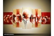 Acryl Schilderij Klaproos | Crème, Rood | 150x70cm 5Luik Handgeschilderd
