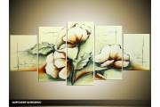 Acryl Schilderij Modern | Groen, Crème | 150x70cm 5Luik Handgeschilderd