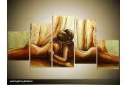 Acryl Schilderij Slaapkamer | Bruin, Crème, Bruin | 150x70cm 5Luik Handgeschilderd