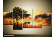 Acryl Schilderij Natuur | Crème, Bruin, Zwart | 150x70cm 5Luik Handgeschilderd