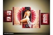 Acryl Schilderij Modern | Roze, Crème | 150x70cm 5Luik Handgeschilderd