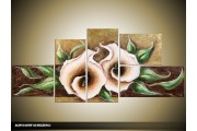 Acryl Schilderij Modern | Crème, Bruin, Zwart | 160x70cm 5Luik Handgeschilderd
