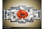 Acryl Schilderij Modern | Grijs, Rood, Wit | 150x70cm 5Luik Handgeschilderd