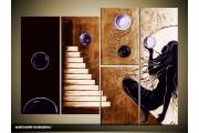 Acryl Schilderij Modern | Paars, Bruin | 120x80cm 5Luik Handgeschilderd