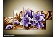 Acryl Schilderij Magnolia | Paars, Bruin | 130x70cm 5Luik Handgeschilderd
