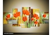 Acryl Schilderij Klaproos | Oranje, Bruin, Geel | 150x70cm 5Luik Handgeschilderd