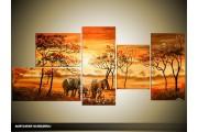 Acryl Schilderij Olifant | Oranje, Bruin | 150x70cm 5Luik Handgeschilderd