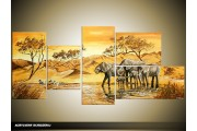 Acryl Schilderij Olifant | Geel, Bruin | 150x70cm 5Luik Handgeschilderd
