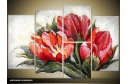 Acryl Schilderij Modern | Rood, Grijs | 120x80cm 5Luik Handgeschilderd