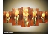 Acryl Schilderij Tulp | Bruin, Geel | 150x70cm 5Luik Handgeschilderd