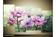 Acryl Schilderij Modern | Paars, Groen | 120x70cm 5Luik Handgeschilderd