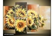 Acryl Schilderij Zonnebloem | Geel, Bruin | 120x80cm 5Luik Handgeschilderd