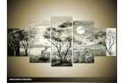 Acryl Schilderij Afrika | Grijs, Zwart | 150x70cm 5Luik Handgeschilderd