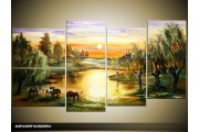 Acryl Schilderij Natuur | Groen, Geel | 130x70cm 5Luik Handgeschilderd