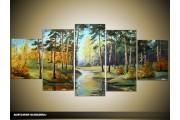 Acryl Schilderij Natuur | Groen, Blauw | 150x70cm 5Luik Handgeschilderd