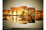 Acryl Schilderij Natuur | Bruin, Geel | 150x70cm 5Luik Handgeschilderd