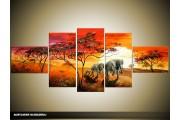 Acryl Schilderij Natuur | Rood, Oranje, Geel | 170x70cm 5Luik Handgeschilderd