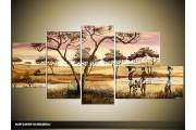 Acryl Schilderij Natuur | Crème, Geel, Bruin | 150x70cm 5Luik Handgeschilderd