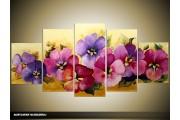 Acryl Schilderij Woonkamer   Paars, Roze, Geel   150x70cm 5Luik Handgeschilderd