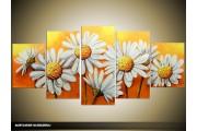 Acryl Schilderij Daisy | Geel, Wit | 150x70cm 5Luik Handgeschilderd