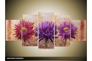 Acryl Schilderij Woonkamer | Paars, Crème | 150x70cm 5Luik Handgeschilderd