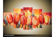 Acryl Schilderij Tulpen   Rood, Oranje, Geel   150x70cm 5Luik Handgeschilderd