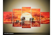 Acryl Schilderij Afrika | Oranje | 150x70cm 5Luik Handgeschilderd