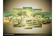 Acryl Schilderij Natuur | Groen, Geel | 150x70cm 5Luik Handgeschilderd