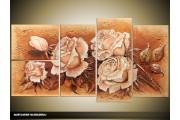 Acryl Schilderij Roos | Crème, Bruin | 130x70cm 5Luik Handgeschilderd