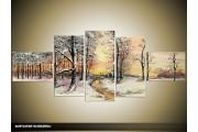 Acryl Schilderij Natuur | Crème, Grijs | 170x70cm 5Luik Handgeschilderd