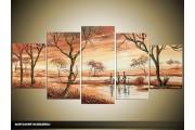 Acryl Schilderij Natuur   Bruin   150x70cm 5Luik Handgeschilderd