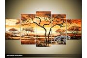 Acryl Schilderij Afrika   Oranje, Bruin, Geel   150x70cm 5Luik Handgeschilderd