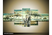 Acryl Schilderij Olifant | Groen | 170x70cm 5Luik Handgeschilderd
