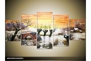 Acryl Schilderij Natuur | Geel, Wit | 150x70cm 5Luik Handgeschilderd