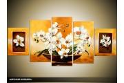 Acryl Schilderij Woonkamer   Oranje, Geel, Wit   150x70cm 5Luik Handgeschilderd
