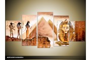Acryl Schilderij Egypte   Bruin   150x70cm 5Luik Handgeschilderd