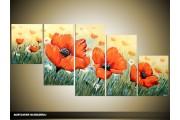 Acryl Schilderij Klaproos | Oranje, Groen | 150x70cm 5Luik Handgeschilderd