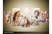 Acryl Schilderij Paard | Crème, Bruin | 150x70cm 5Luik Handgeschilderd