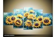 Acryl Schilderij Zonebloem | Geel, Blauw | 150x70cm 5Luik Handgeschilderd