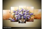 Acryl Schilderij Woonkamer | Paars, Bruin, Crème | 150x70cm 5Luik Handgeschilderd