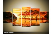 Acryl Schilderij Afrika   Oranje, Geel   150x70cm 5Luik Handgeschilderd
