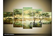 Acryl Schilderij Afrika | Groen | 150x70cm 5Luik Handgeschilderd
