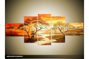 Acryl Schilderij Natuur | Oranje, Bruin | 170x70cm 5Luik Handgeschilderd