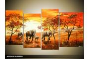 Acryl Schilderij Natuur | Oranje, Bruin | 130x70cm 5Luik Handgeschilderd