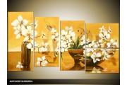 Acryl Schilderij Modern | Geel, Bruin | 130x70cm 5Luik Handgeschilderd