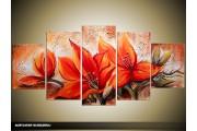 Acryl Schilderij Woonkamer | Oranje, Bruin | 150x70cm 5Luik Handgeschilderd
