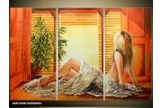 Acryl Schilderij Slaapkamer | Bruin, Oranje, Geel | 120x80cm 3Luik Handgeschilderd