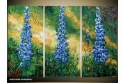Acryl Schilderij Natuur | Blauw, Groen, Geel | 120x80cm 3Luik Handgeschilderd