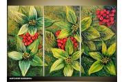 Acryl Schilderij Natuur | Groen, Rood | 120x80cm 3Luik Handgeschilderd