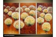 Acryl Schilderij Vrouw | Bruin, Geel | 120x80cm 3Luik Handgeschilderd